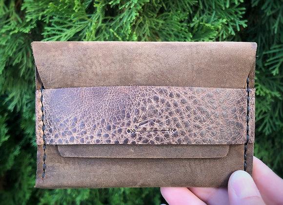 Mountain Minimalist Wallet in Brown Suede