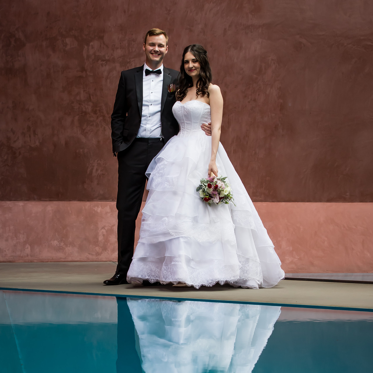 Wedding photography by the pool