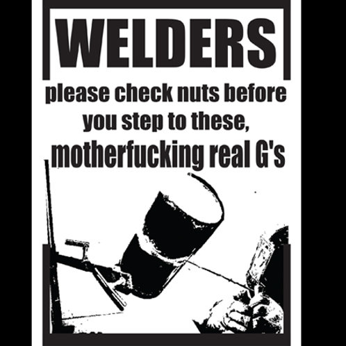 Welders check nuts.