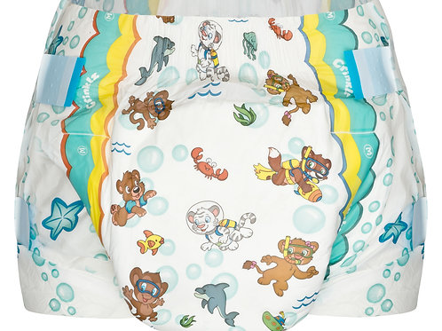 Crinklz ABDL Diapers Aquanaut Design in Medium Front View