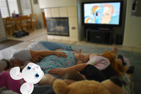 Let's snuggle and watch cartoons.