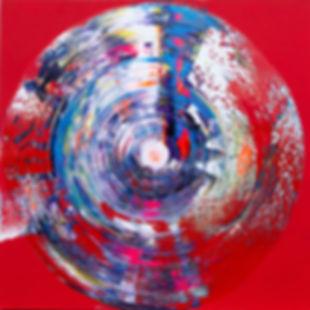 """Red Spiral 48"""" x 48"""""""