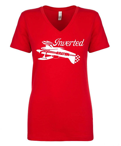Inverted Aviation Pitts Womens Red V-Neck