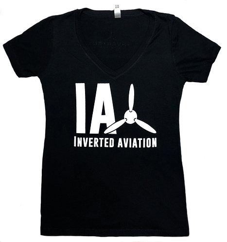 Inverted Aviation Logo Women's Black V-Neck