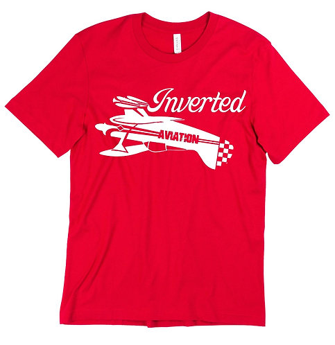 Inverted Aviation Mens Pitts Red T-Shirt