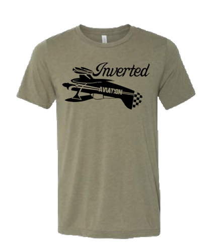 Inverted Aviation Mens Pitts Heather Olive T-Shirt