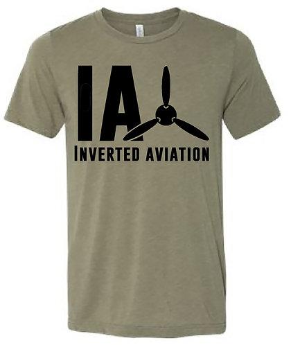 Inverted Aviation Logo Men's Heather Olive T Shirt