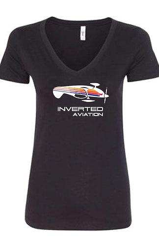 Inverted Aviation Color Bi-Plane Women's V-Neck