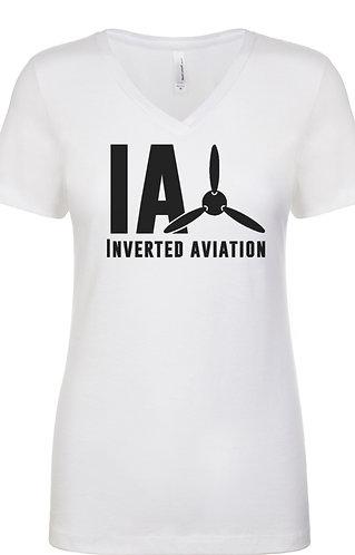 Inverted Aviation Logo Women's White V-Neck