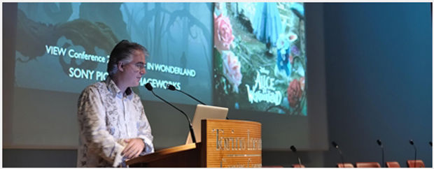 David Schaub presenting animation on Tim Burton's Alice in Wonderland (Disney) at VIEW Conference in Turin, Italy