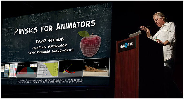 Physics for Animators - Popular Master Class taught by animation supervisor David Schaub.  Three-part series presents physics from a unique perspective that is surprisingly easy to understand without the complicated math that often eludes the visually oriented artist.