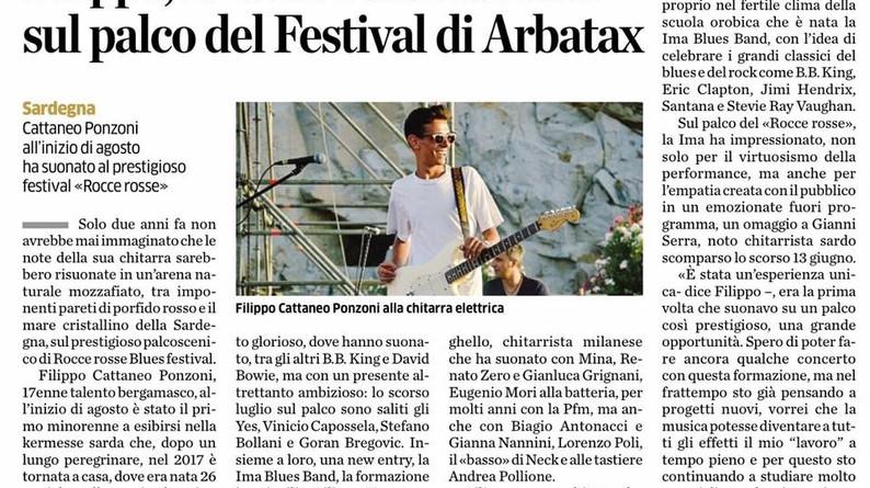 Articolo L'Eco Di Bergamo - Rocce Rosse Blues 2017