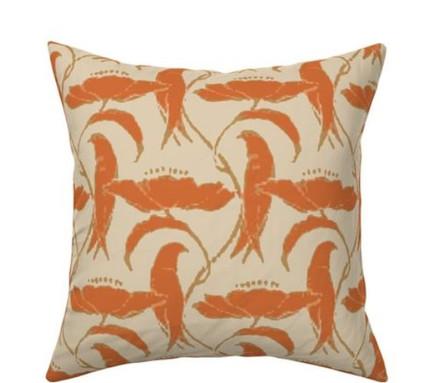 Victorian perched birds pumpkin pillow.jpg
