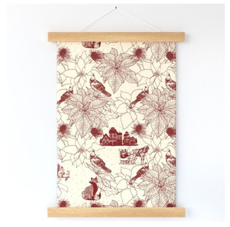 Winter Cardinals Poinsettias Ruby Toile Wallhanging.jpg