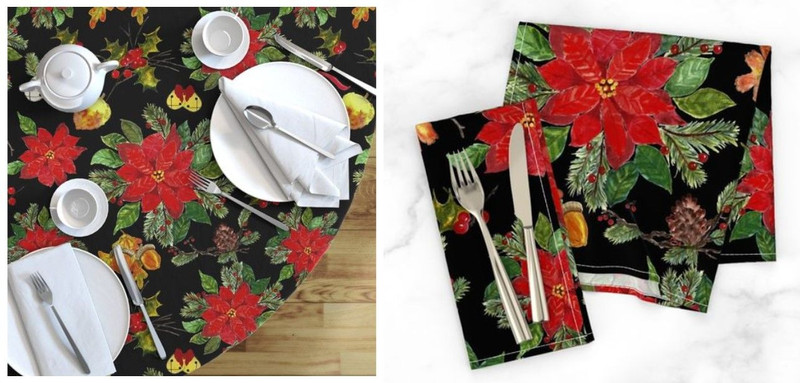 Poinsettia Christmas Melange Tablecloth Napkins AD top.jpg