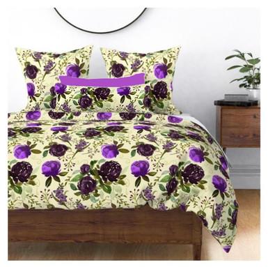 Purple Peonies Gladiolus On Ecru Bedding.jpg