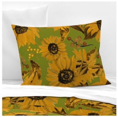 Sunflowers On Green Large bedding.jpg