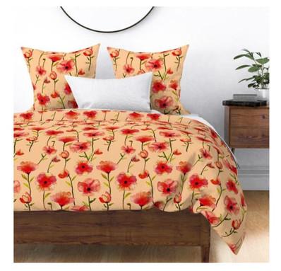 Poppies at sunset peach BG bedding.jpg