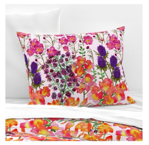 Watercolor gladiolas orchids cosmos thistle overload pillow shams bedding.jpg