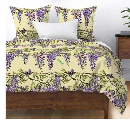 branch hanging wisteria on yellow with dragonflies large bedding.jpg