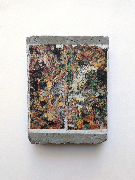2019 Acrylic and Ink transfer on cast concrete 20 x 15 cm