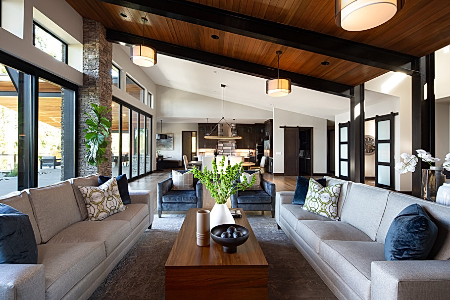 Open Concept Living room with lanterns.j