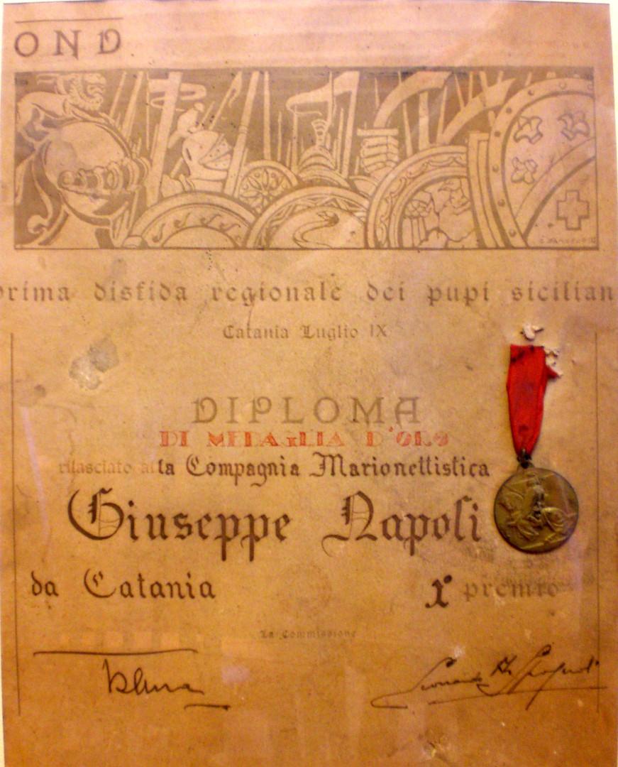 Diploma Prima Disfida Regionale dell'Opera dei Pupi 1931