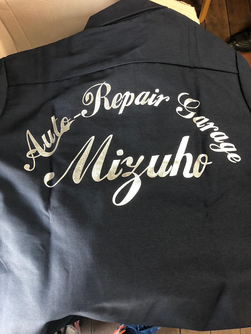 シルバー印刷ワークシャツ