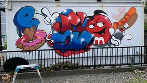 名古屋市中川区の中古車ショップにグラフィティアート
