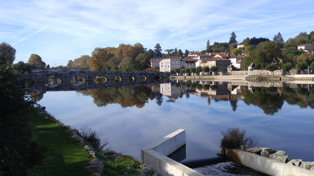 View across the Vienne River from the Square Jules Halgand in Confolens, France.