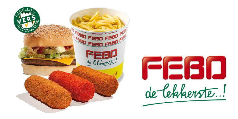 Three krokets (light brown, dark brown and deep red), frites (french fries) and a cheeseburger. Photo by FEBO.