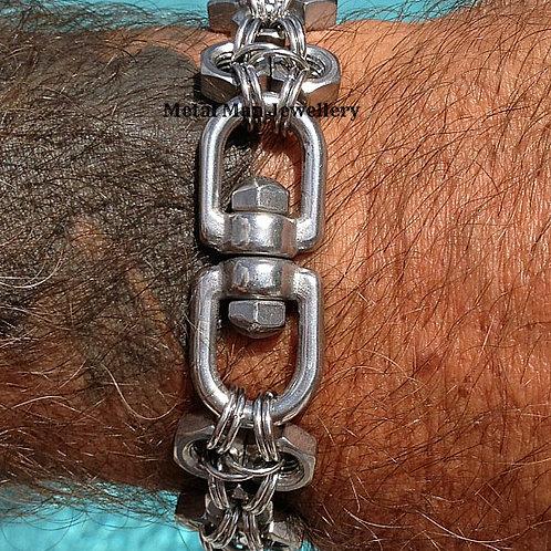 SWE2 - Patterned M6 Hex Nut & Eye Swivel Bracelet