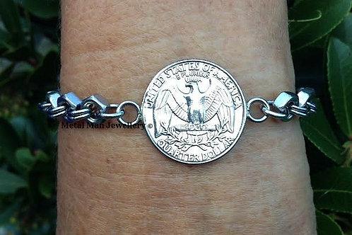 CA6 - Quarter on an M4 hex nut bracelet