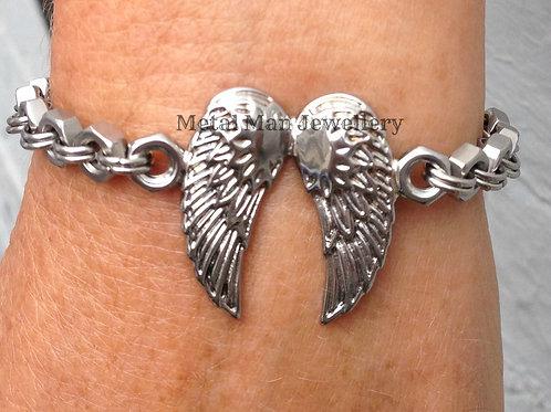 WB6 - Angel wing & hex nut bracelet