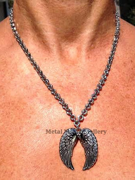 "WB2 - Large Angel Wings on 20"" Chain"