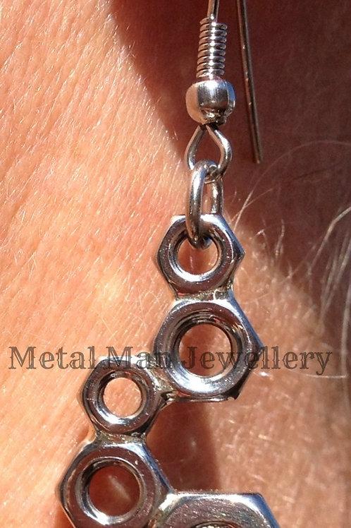 BH2 - Silver Brazed Hex Nut Earrings