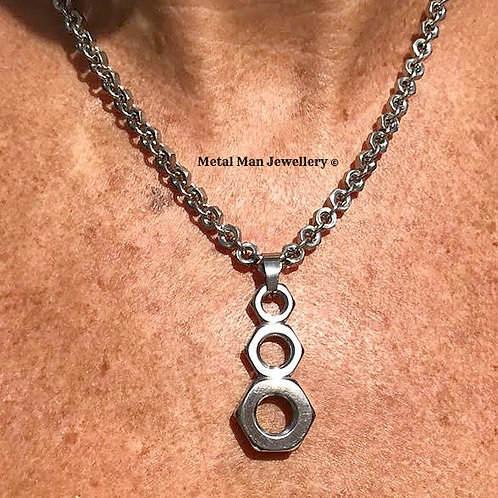BP - Half nut pendant on a hex nut chain