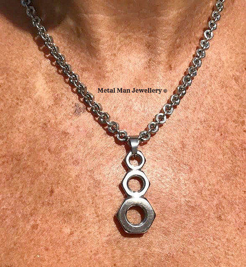 Bp half nut pendant on a hex nut chain aloadofball Gallery