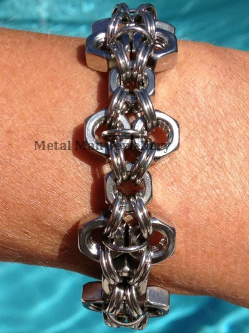 F - Unisex M6 Patterned Hex Nut Bracelet