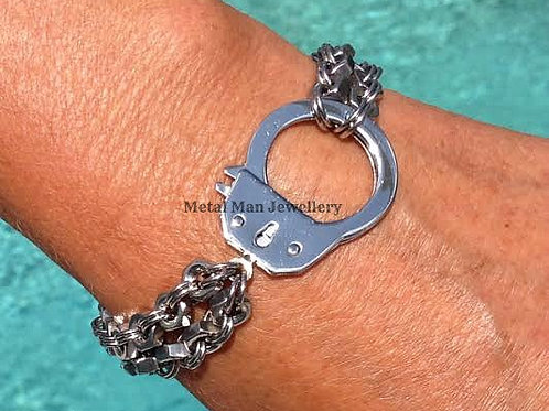 H3 - Single handcuff on 2 single strand bracelet