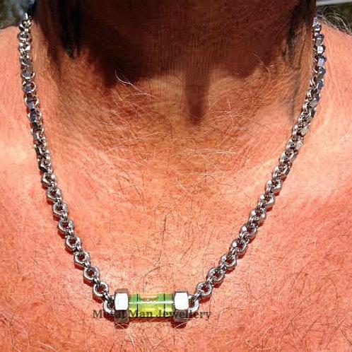 """LA2 - Level pendant on 20"""" hex nut necklace"""