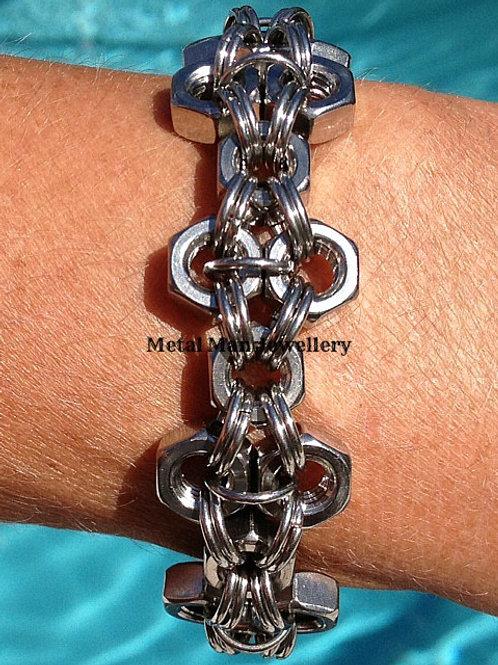 F- Unisex M6 hex nut patterned bracelet