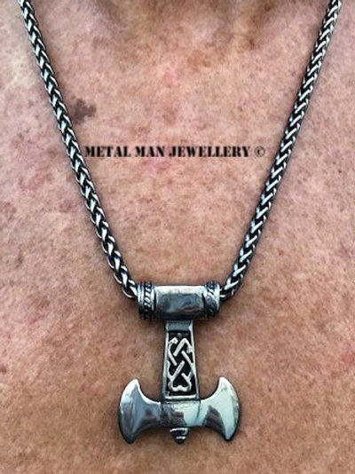 TA - Double bladed Thor axe on wheat weave chain