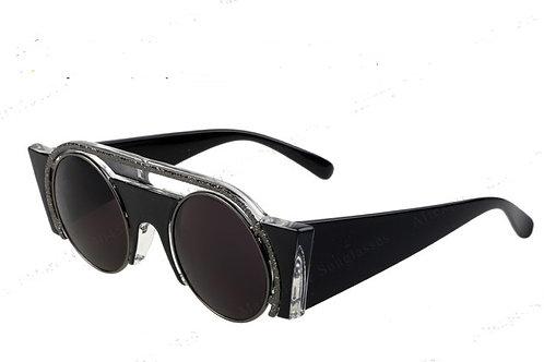 SZ3 Wide sided gloss black sunglasses