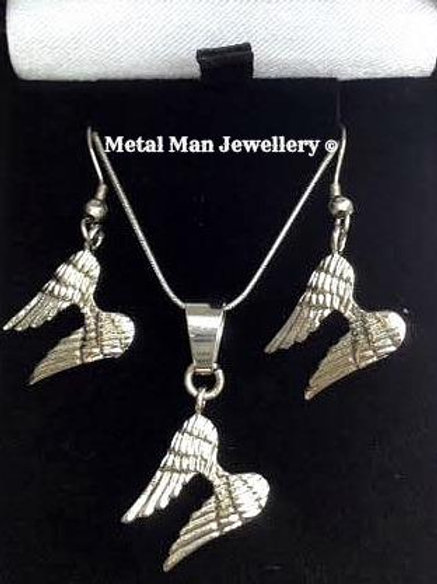 WINGS- Angel wing necklace & earrings set