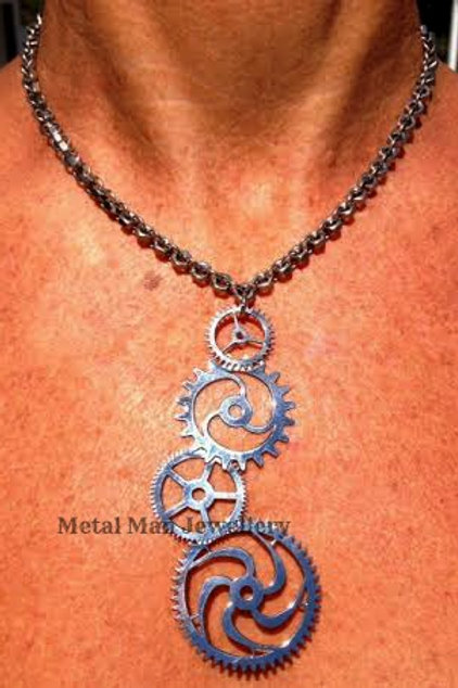 GE - Large gear pendant on a hex nut chain