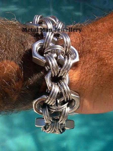 F3 - M10 patterned hex nut bracelet
