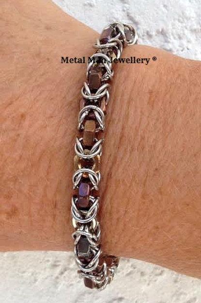 HTBY2  - Two tone hex nut byzantine bracelet