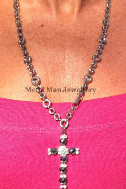 CR4 - Bead Cross & Hex Nut Necklace