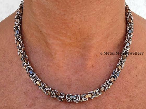 HTBY1 Two tone hex nut byzantine necklace
